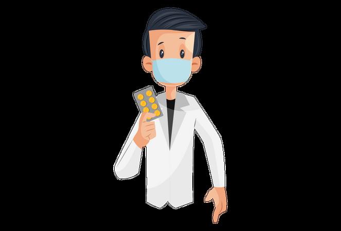 Laboratory boy is holding medicine in hand Illustration