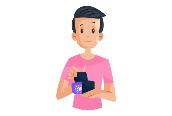 Laboratory boy is holding sanitary napkin packet in hand Illustration