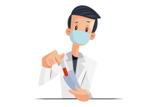 Laboratory boy is holding test tube and report paper in hand Illustration