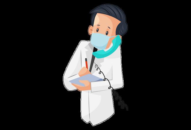 Laboratory boy talking on the phone and taking medicine order Illustration