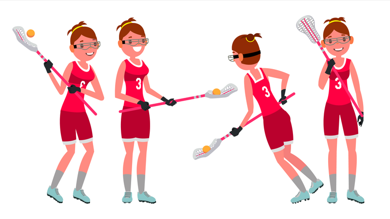 Lacrosse Female Player Vector. High School Or Colleges Girl. Team Members. Professional Athlete. Sport Competitions. Flat Cartoon Illustration Illustration
