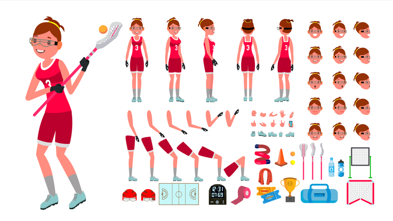 Lacrosse Player Female Vector. Animated Character Creation Set. Girl S Lacrosse. Woman Player. Full Length, Front, Side, Accessories, Poses, Face Emotions, Gestures. Isolated Flat Cartoon Illustration Illustration