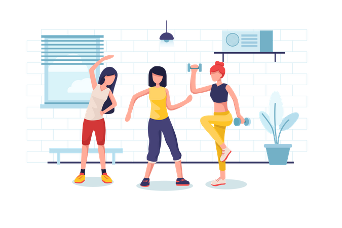 Ladies doing exercise and gym activity Illustration