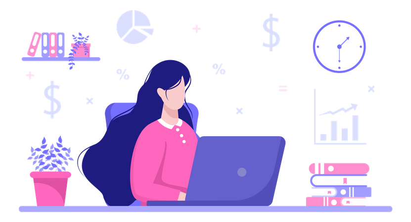 Lady accountant working on laptop Illustration