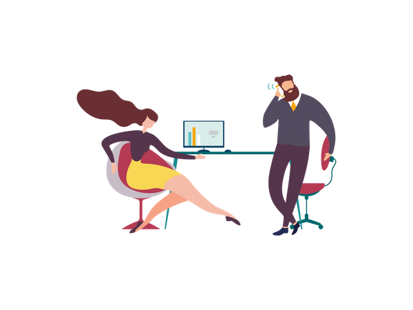 Lady analyzing charts on computer screen while boss talking on mobile call Illustration