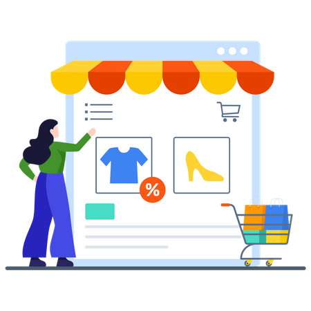Lady Choosing Discounted Items from shopping site Illustration