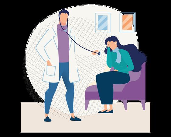 Lady describing health problem to doctor Illustration