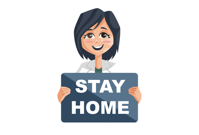 Lady Doctor Holding Stay Home Board Illustration