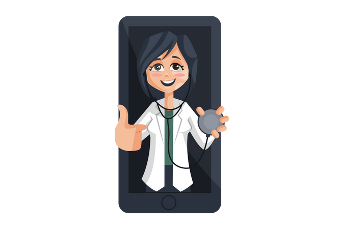 Lady Doctor with stethoscope on mobile Screen Illustration