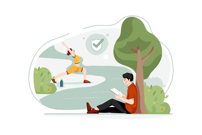 Lady Doing Exercise and boy reading book freely in park Illustration