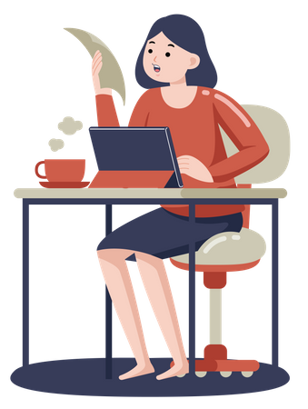Lady doing online meeting on tablet with coffee cup on desk Illustration