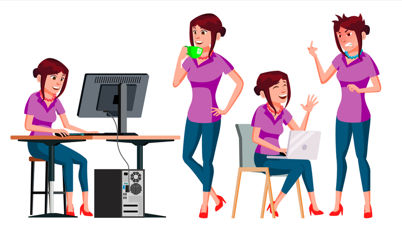 Lady Employee With Different Gesture Illustration