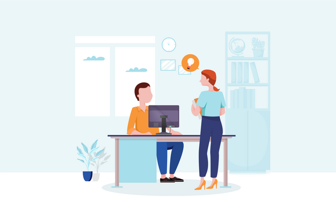 Lady explaining business idea to manager in office Illustration