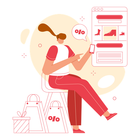 Lady Finding online Discounted Footwear for shopping Illustration