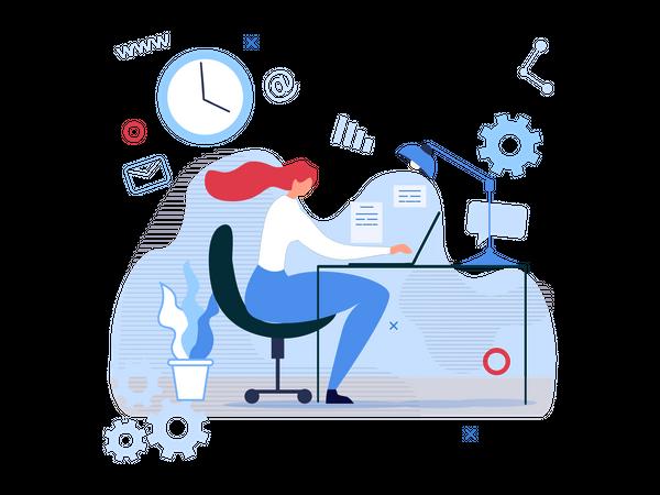 Lady finishing work on laptop on time Illustration
