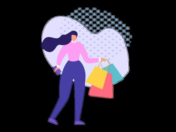 Lady holding Shopping bags Illustration