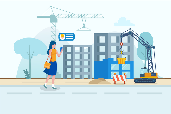 Lady inspecting construction site with help of contractor in digitization in construction concept Illustration