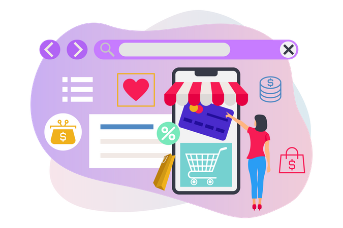 Lady making payment for online shopping Illustration