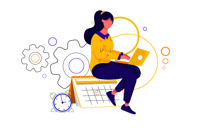 Lady managing her appointment and time Illustration