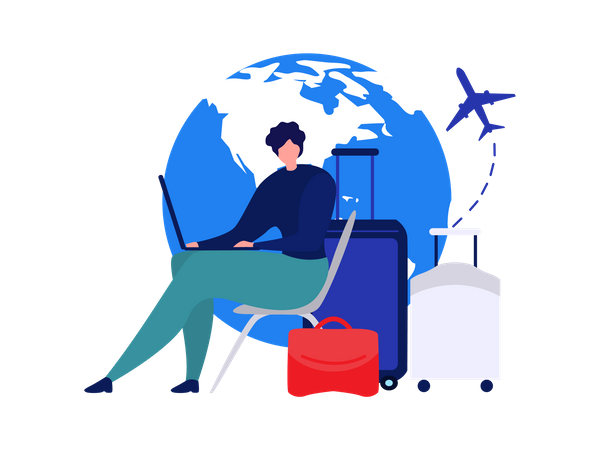 Lady Online Booking Flight tickets for Travel Illustration
