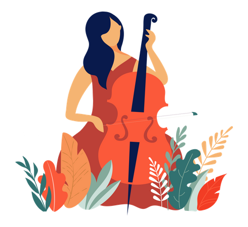 Lady Playing cello Illustration