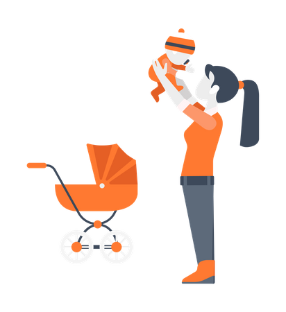 Lady Playing with baby Illustration