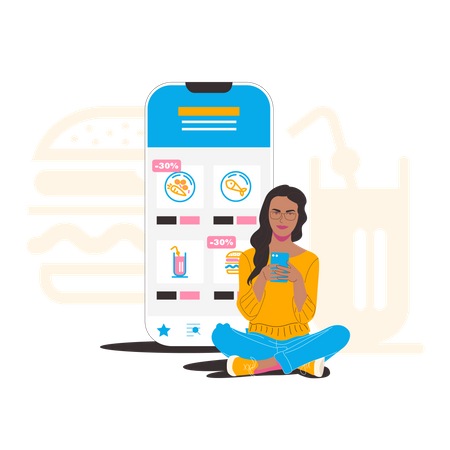 Lady purchasing grocery online Illustration