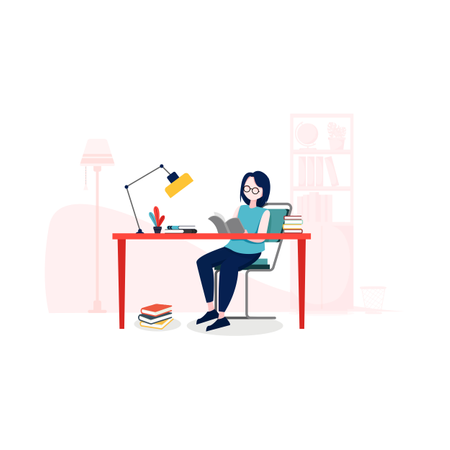 Lady reading book on study desk Illustration