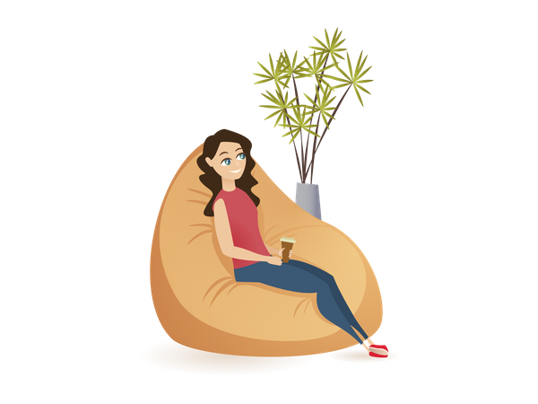 Lady resting while seating on bean bag holding coffee cup Illustration