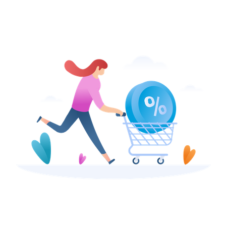 Lady running for shopping discount with trolley Illustration