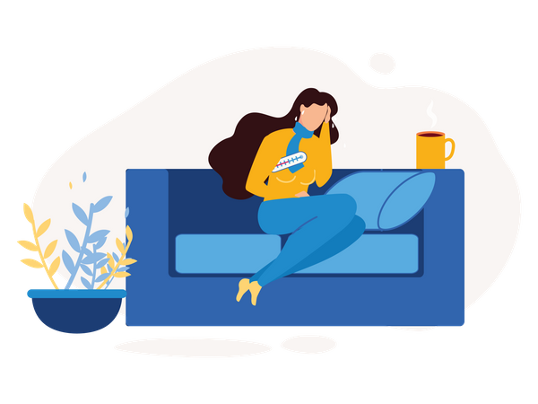 Lady seating on the couch with a cold and flu symptoms Illustration