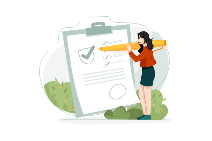 Lady Signing Insurance Policy paper Illustration