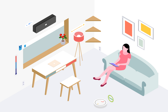Lady sitting on couch and using tablet in drawing room Illustration