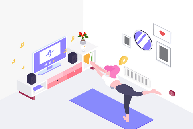 Lady start to training Yoga by follow coach in television in living room Illustration