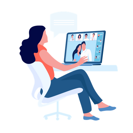 Lady talking with people on video call meeting Illustration