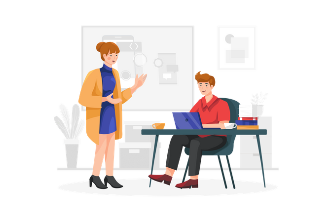 Lady talking with project manager Illustration