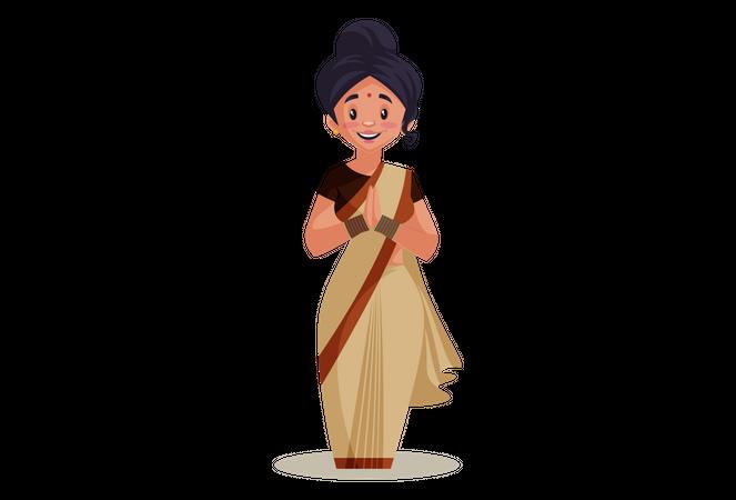 Lady teacher with Namaste Hand gesture Illustration