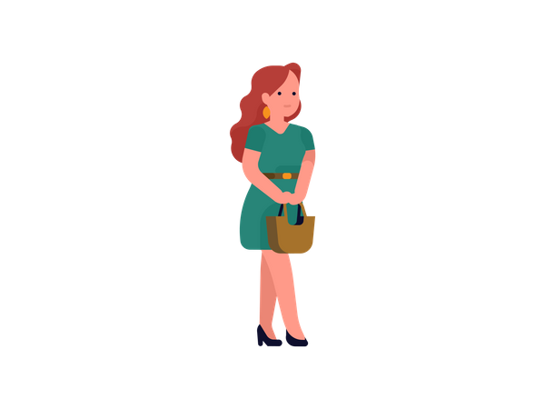 Lady with hang bag Illustration