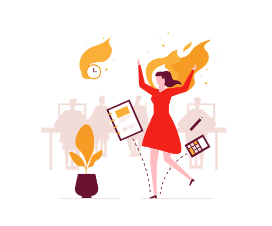 Lady with heavy workload Illustration