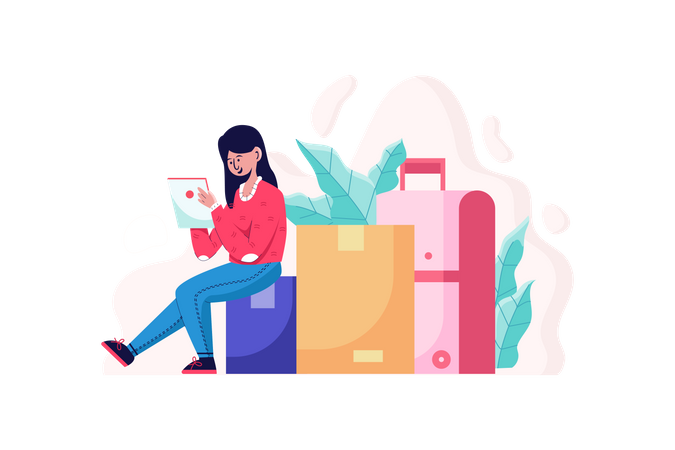 Lady with luggage and holding a list of travel places Illustration