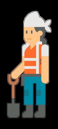 Lady worker holding shovel Illustration