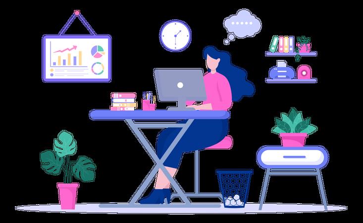 Lady working on laptop on accounting analytics Illustration