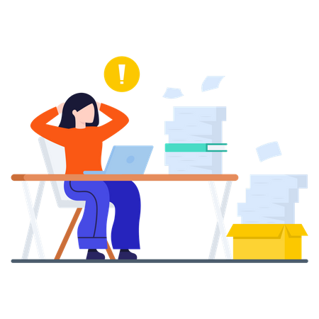 Lady working on laptop with lots of Business documents Illustration