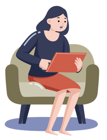 Lady working on tablet while working on armchair Illustration