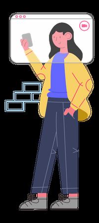 Lady working remotely Illustration