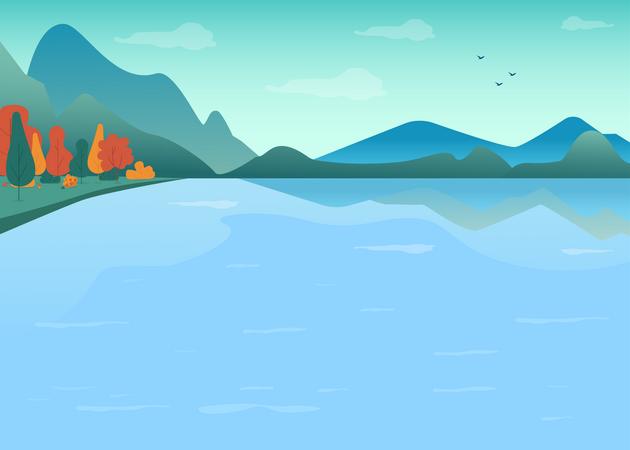 Lake in mountains Illustration