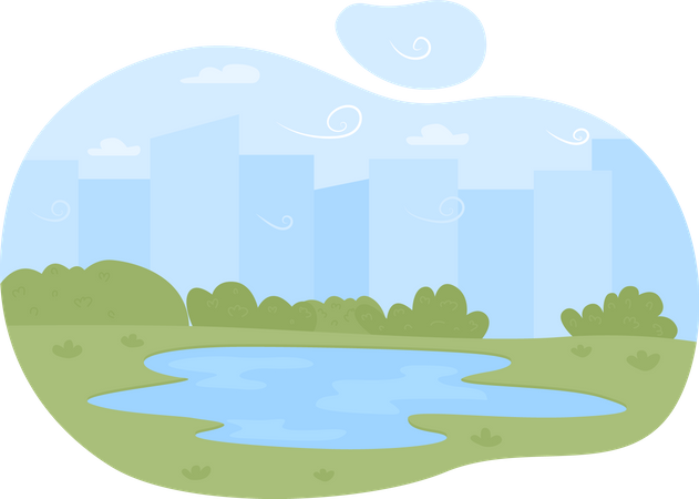 Lake on plains Illustration