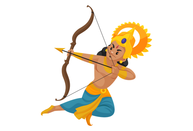 Lakshmana fighting with bow and arrow Illustration