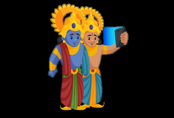 Lakshmana taking selfie with Shree Ram Illustration
