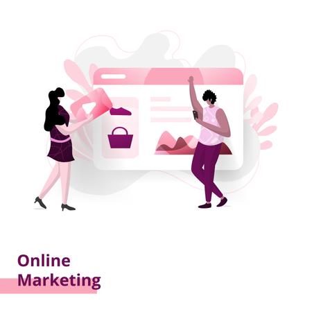 Landing Marketing Online page Illustration